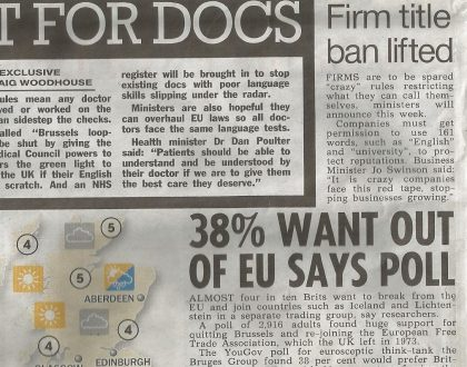 Our poll placed in Page 5 of The Sun on Sunday